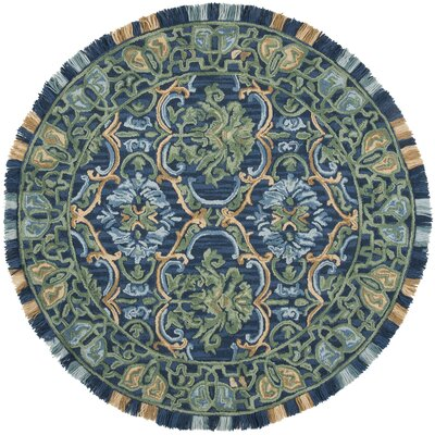 Bradwood Hand-Tufted Navy Area Rug Rug Size: Round 6