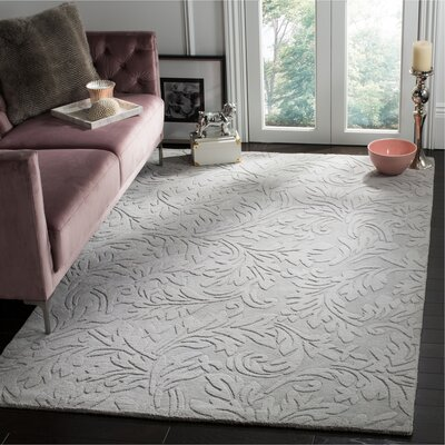 Cambridge Tufted Wool Dark Gray/Ivory Area Rug Rug Size: Square 8