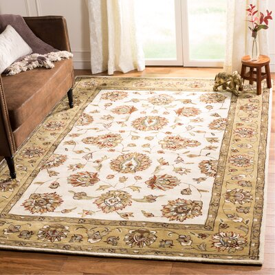 Cloverdale Hand-Hooked Ivory/Beige Area Rug Rug Size: Rectangle 6 x 9