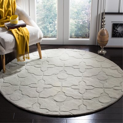 Opal Modern Silver Area Rug Rug Size: Round 5