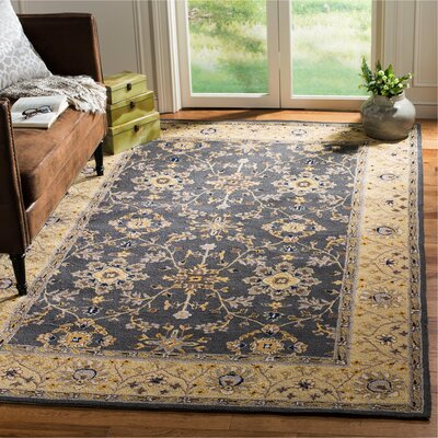 Driffield Hand-Hooked Grey / Cream Area Rug Rug Size: Rectangle 6 x 9