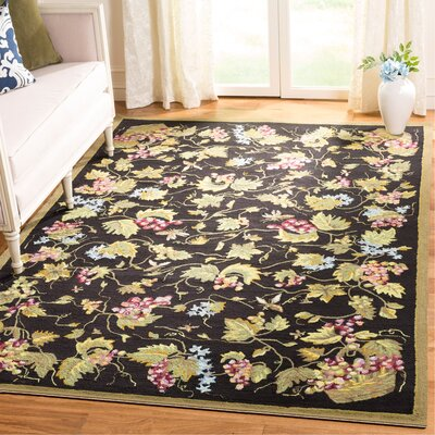 Olson Hand-Hooked Black Area Rug Rug Size: Rectangle 6' x 9'