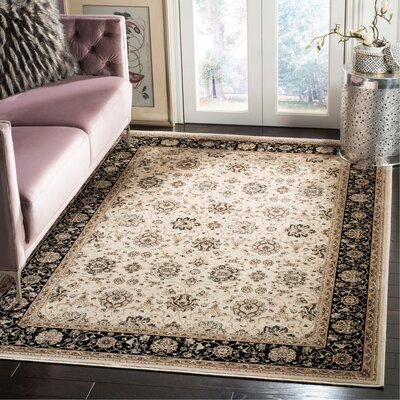 Petronella Ivory/Black Area Rug Rug Size: Rectangle 51 x 77
