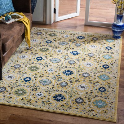 Pike Gold / Ivory Area Rug Rug Size: Rectangle 51 x 76