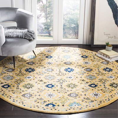 Pike Gold / Ivory Area Rug Rug Size: Round 7