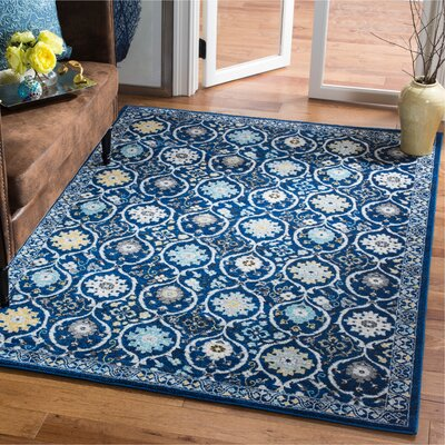 Pike Navy/Ivory Area Rug Rug Size: Rectangle 51 x 76