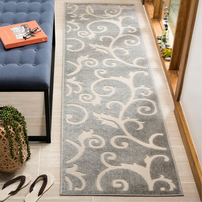 Bryan Gray/Cream Area Rug Rug Size: Runner 23 x 8