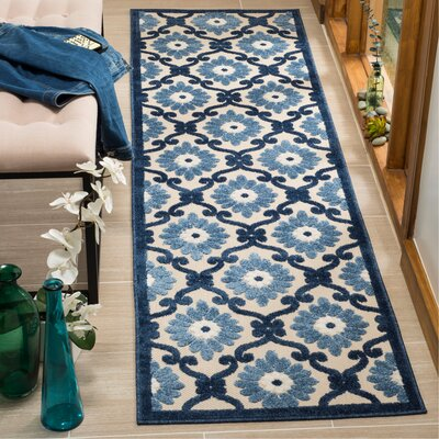 Bryan Ivory/Blue Area Rug Rug Size: Runner 23 x 8