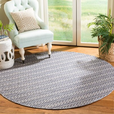 Parthena Hand-Woven Gray Area Rug Rug Size: Round 6