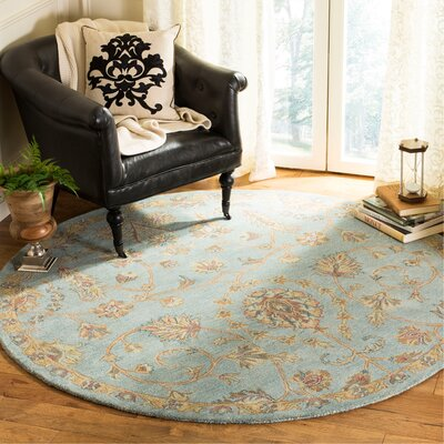 Cranmore Hand-Tufted Blue/Beige Area Rug Rug Size: Round 6