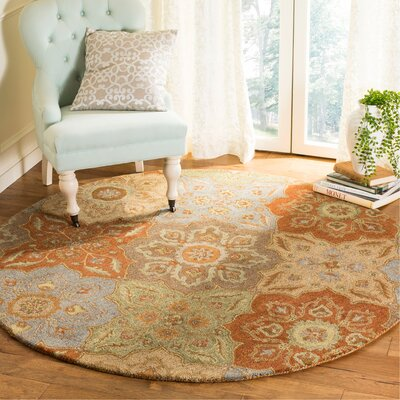 Cranmore Hand-Tufted Beige/Orange Area Rug Rug Size: Round 6