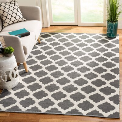 Willow Hand-Woven Dark Gray/Ivory Area Rug Rug Size: Rectangle 5 x 8