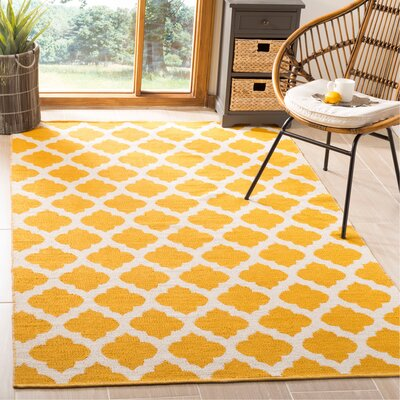 Willow Hand-Woven Yellow/Ivory Area Rug Rug Size: Rectangle 5 x 8