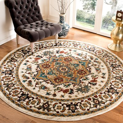 One-of-a-Kind Lowe Beige/Gray Area Rug Rug Size: Round 67