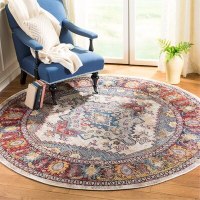Jura Light Gray/Rose Area Rug Rug Size: Round 7