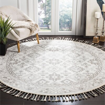 Carman Hand-Tufted Wool Light Gray Area Rug Rug Size: Round 7
