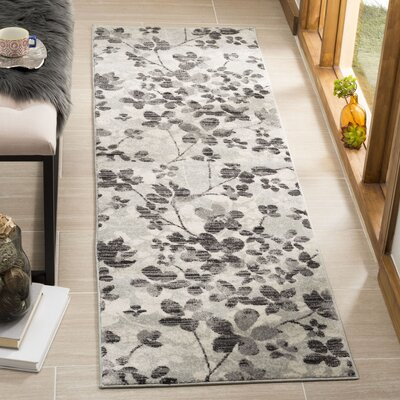 Pike Gray/Black Area Rug Rug Size: Runner 22 x 7