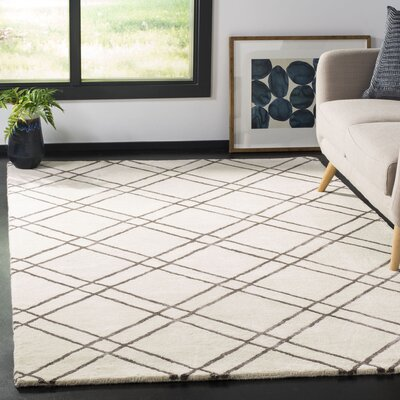Dirks Hand-Tufted Wool Ivory Area Rug Rug Size: Rectangle 5 x 8