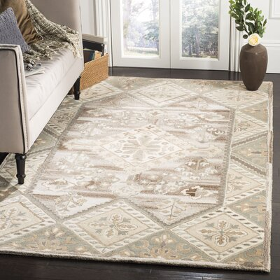 Hopeworth Hand-Woven Wool Beige/Gray Area Rug Rug Size: Rectangular 5 x 8