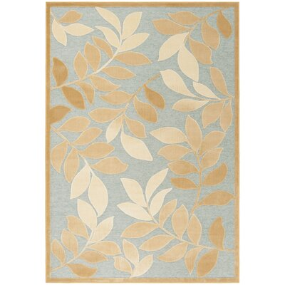 Sorensen Leafy Glade Geyser/Gold Area Rug Rug Size: Rectangle 53 x 76