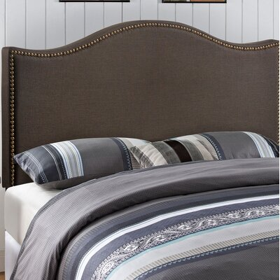 Bransford Curl Upholstered Headboard Size: Queen, Upholstery: Dark Brown