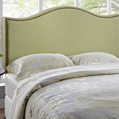 Bransford Curl Upholstered Headboard Size: Queen, Upholstery: Green