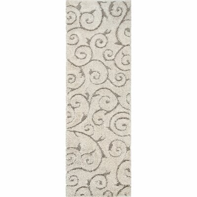 Pipers Ivory Vine Swirls Area Rug Rug Size: Runner 28 x 8