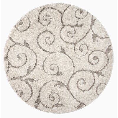 Pipers Ivory Vine Swirls Area Rug Rug Size: Round 5' 3