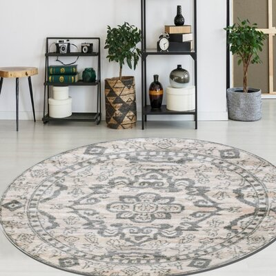 Norwood Bone Area Rug Rug Size: Round 53