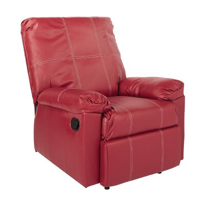 Androscogin Manual Recliner Upholstery: Red with White Stiching