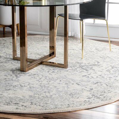 Dorothea Ivory/Gray Area Rug Rug Size: Round 8