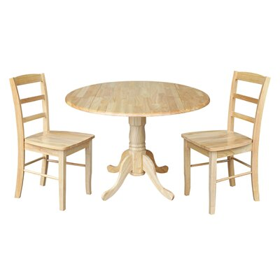 Highsmith 3 Piece Drop Leaf Dining Set Finish: Natural