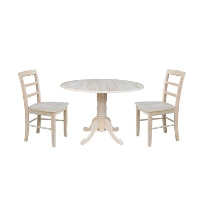 Highsmith 3 Piece Drop Leaf Dining Set Finish: Unfinished