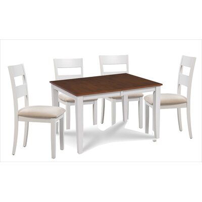 Almeida 5 Piece Extendable Dining Set Table Top Color: Brown, Table Base Color: White