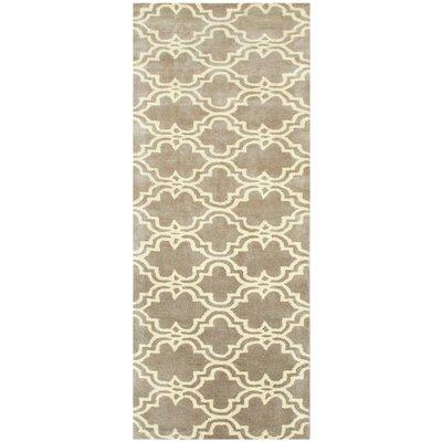 Ladd Trellis Wool Hand-Tufted Mocha Area Rug Rug Size: Runner 23 x 8
