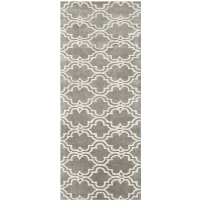 Ladd Trellis Wool Hand-Tufted Silver Area Rug Rug Size: Runner 23 x 8