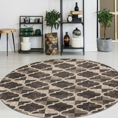 Norwich Brown Area Rug Rug Size: Round 53