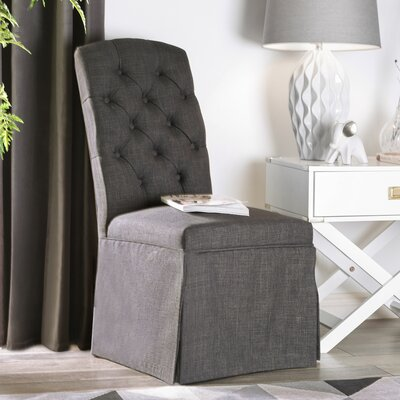 Eleanora Transitional Upholstered Dining Chair Upholstery: Dark Gray