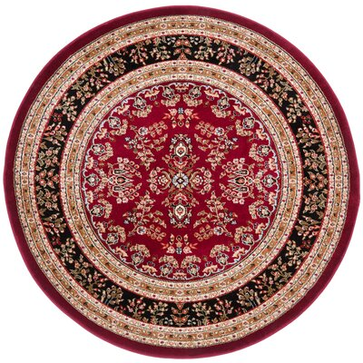 Ottis Lianne Red Area Rug Rug Size: Round 5
