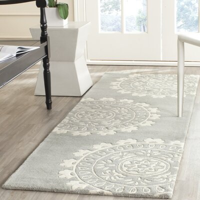 Harger Hand-Tufted Wool Gray/Ivory Area Rug Rug Size: Rectangle 6 x 9