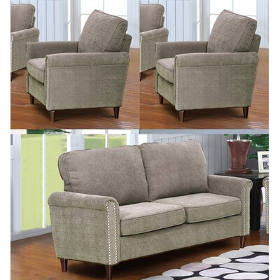 Hayton Fabric Modern 3 Piece Living Room Set