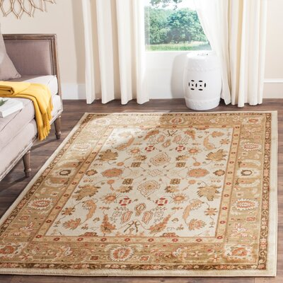 Christensen Cream/Green Area Rug Rug Size: Rectangle 4 x 57