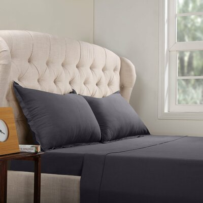 Geoffrey 100% Cotton Jersey Bed Sheet Set Color: Dark Gray, Size: Queen