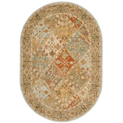 Albert Hand-Tufted Light Blue/Light Brown Area Rug in , Oval 46 x 66 COLOR: Light Blue / Light Brown