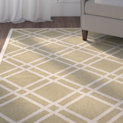 Octavius Green/Beige Indoor/Outdoor Area Rug Rug Size: Rectangle 2 x 37