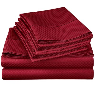 Harpe Superior Checkered Microfiber 4 Piece Sheet Set Size: Queen, Color: Burgundy