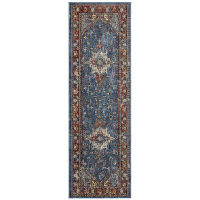 Raabe Blue/Rose Area Rug Rug Size: Runner 22 x 7