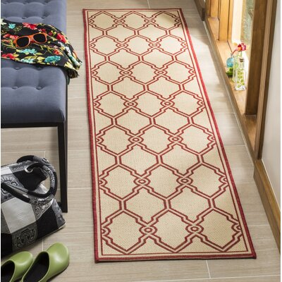 Karpinski Red/Cream Area Rug Rug Size: Runner 2' x 8'