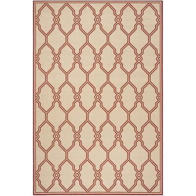 Karpinski Red/Cream Area Rug Rug Size: Rectangle 5'1