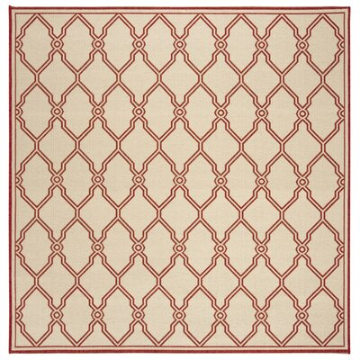 Karpinski Red/Cream Area Rug Rug Size: Square 67